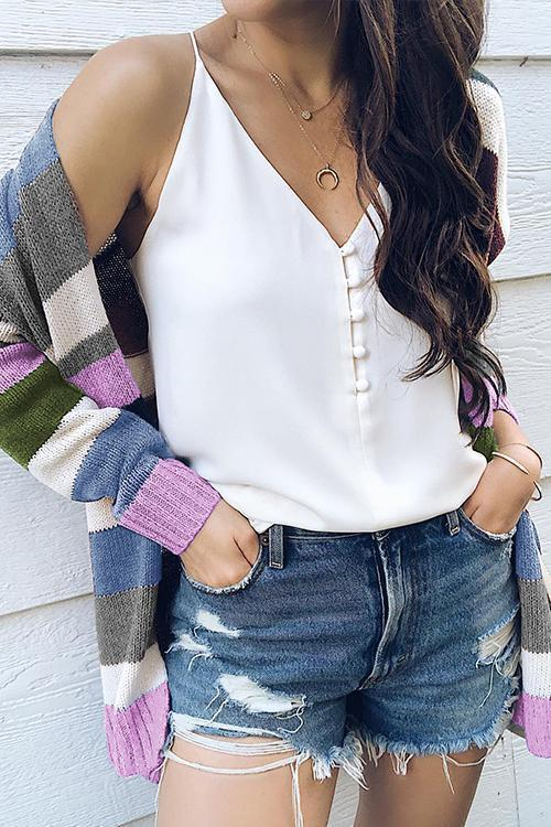 Voyagal Sing In The Sky Striped Cardigan Sweaters