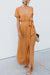 Voyagal Belted V Neck Casual Maxi Dress