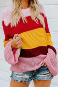 Voyagal Round Neck Striped Patchwork Sweater