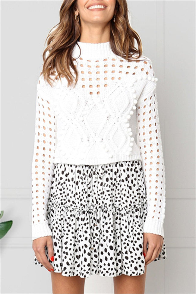 Voyagal Temaire Hollowed-out White Knit Sweater