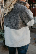 Voyagal Zipper Fluffy Fleece Patchwork Hoodies