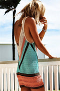 Voyagal Sexy Crochet Sleeveless Color Block Cover up