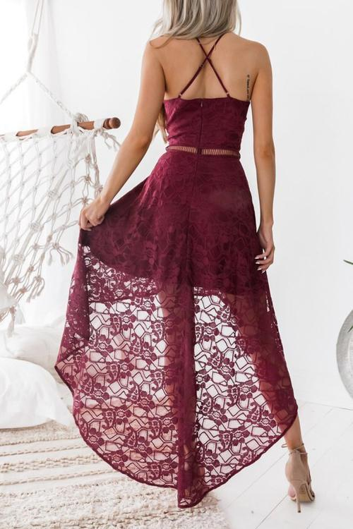 Voyagal Sexy Spaghetti Strap Lace Dress-Burgundy