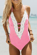 Voyagal Thick Forest Lace One-piece Swimsuit-Pink