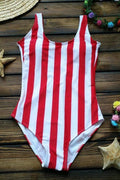 Voyagal Teen Gilrs Striped Printed Red One-piece Swimwears
