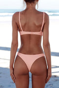 Voyagal Sexy Spaghetti Strap Solid Color Two-piece Swimwears