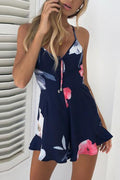 Voyagal Sexy Floral Off Shoulder Sleeveless Romper