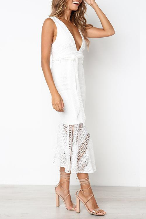 Voyagal Danielle Hollow-out White Lace Mid Calf Dress