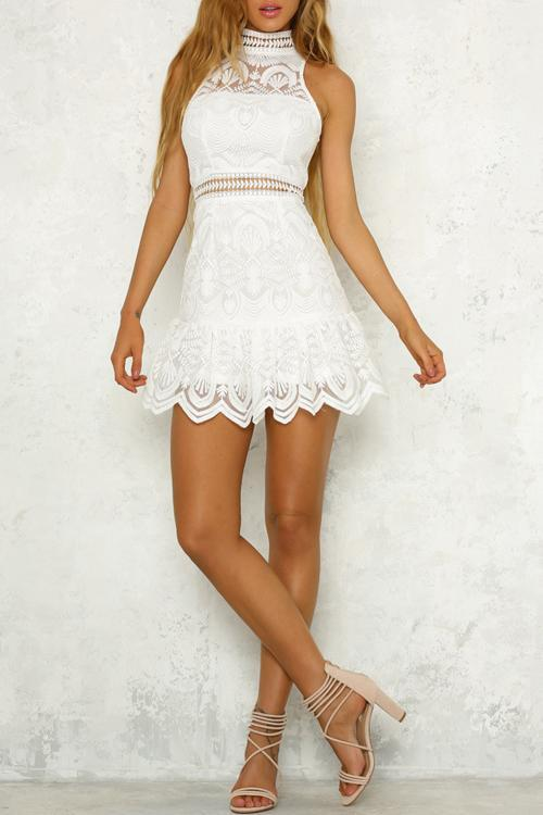 Voyagal Pick Up The Pieces White Lace Mini Dress