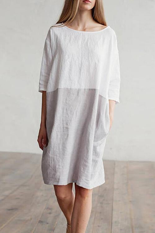Voyagal White And Gray Patchwork Dress