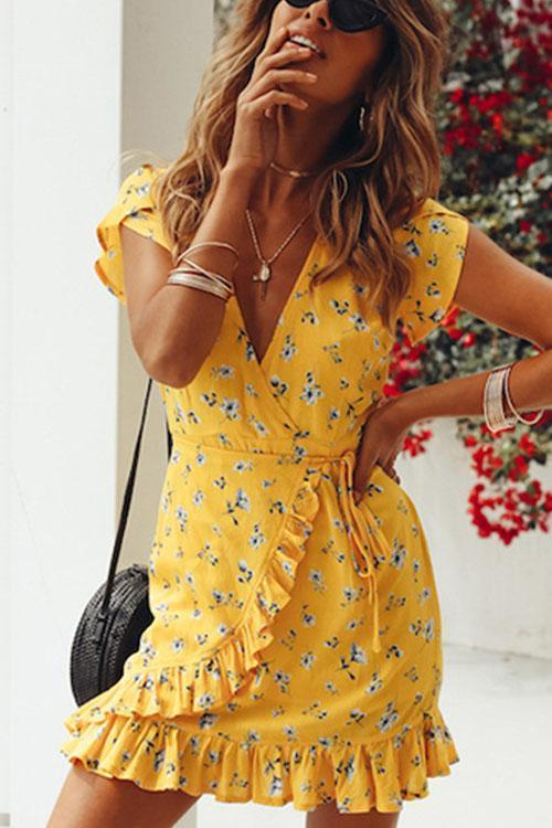 Voyagal Pretty V Neck Floral Printed Flounce Yellow Mini Dress
