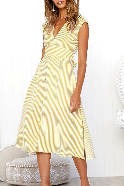 Voyagal Sexy V Neck Striped Buttons Midi Dress