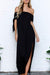 Voyagal One Shoulder Leader With Short Sleeved Solid Color Slit Dress