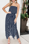 Voyagal Stripe Dew Shoulder Navy Midi Dress