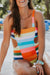 Voyagal Multicolor Striped Hollow-out One-piece Swimsuit