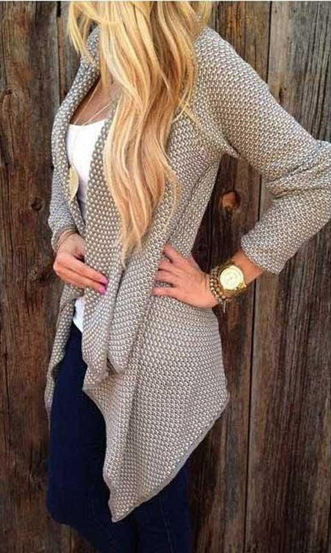 Voyagal Open Front Chunky Knit Cardigan