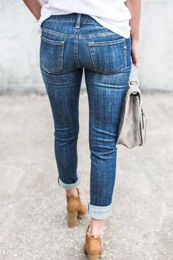 Voyagal Slim Distressed Mid Waist Jeans with Pocket