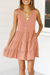 Voyagal Pleated Design Mini A Line Dress