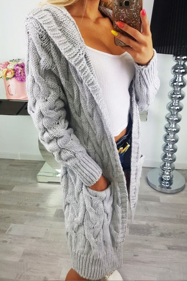 Voyagal Open Front Pocket Long Sleeve Knit Cardigan