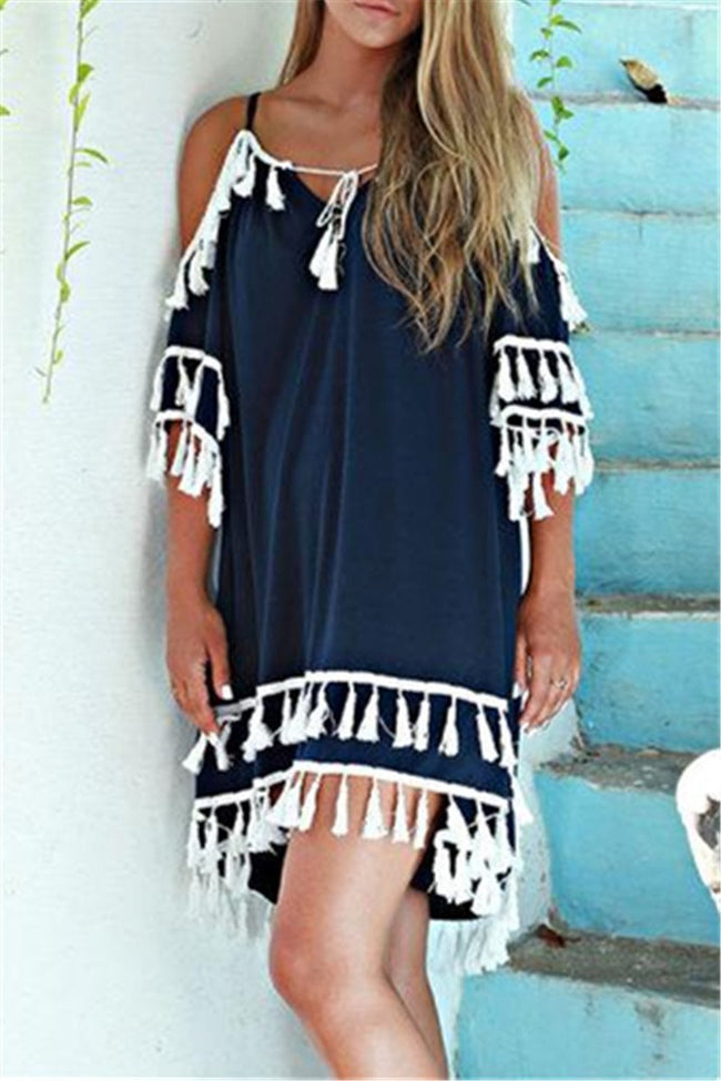 Voyagal Vicotor Secret Tassel Mini Dress