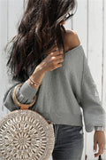 Voyagal Long Sleeve V Neck Fleece Fuzzy Loose Sweater