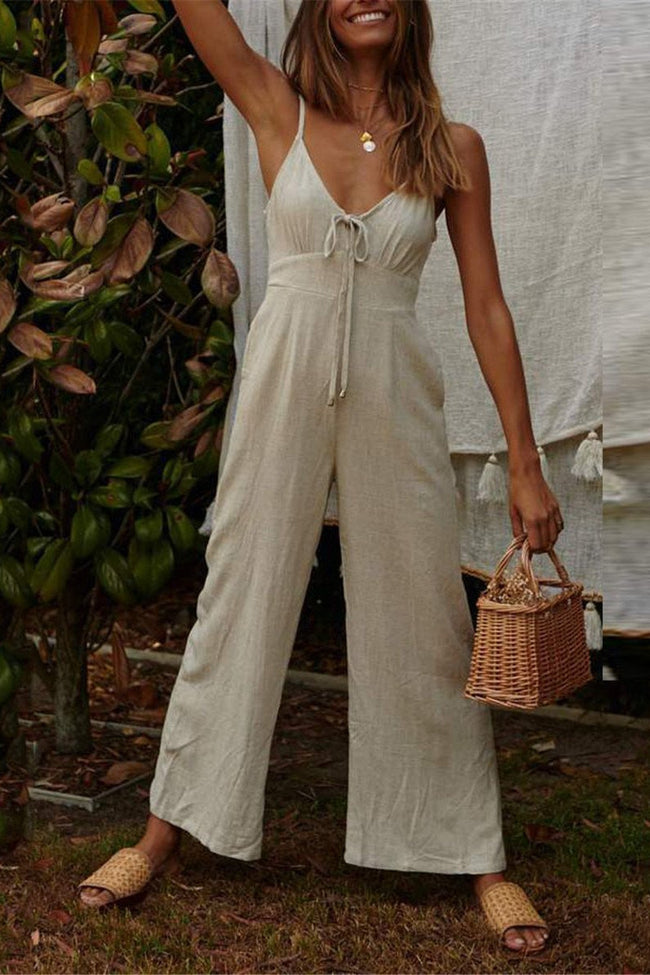 Voyagal Solid Color Shoulder Straps Wide-Legged Jumpsuits