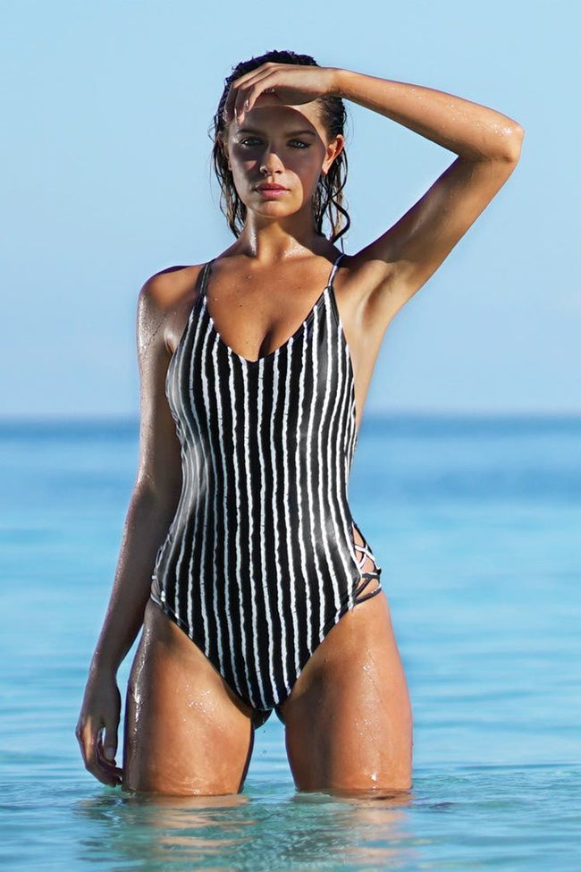 Voyagal Stay Young Stripe Black One-piece Swimsuit