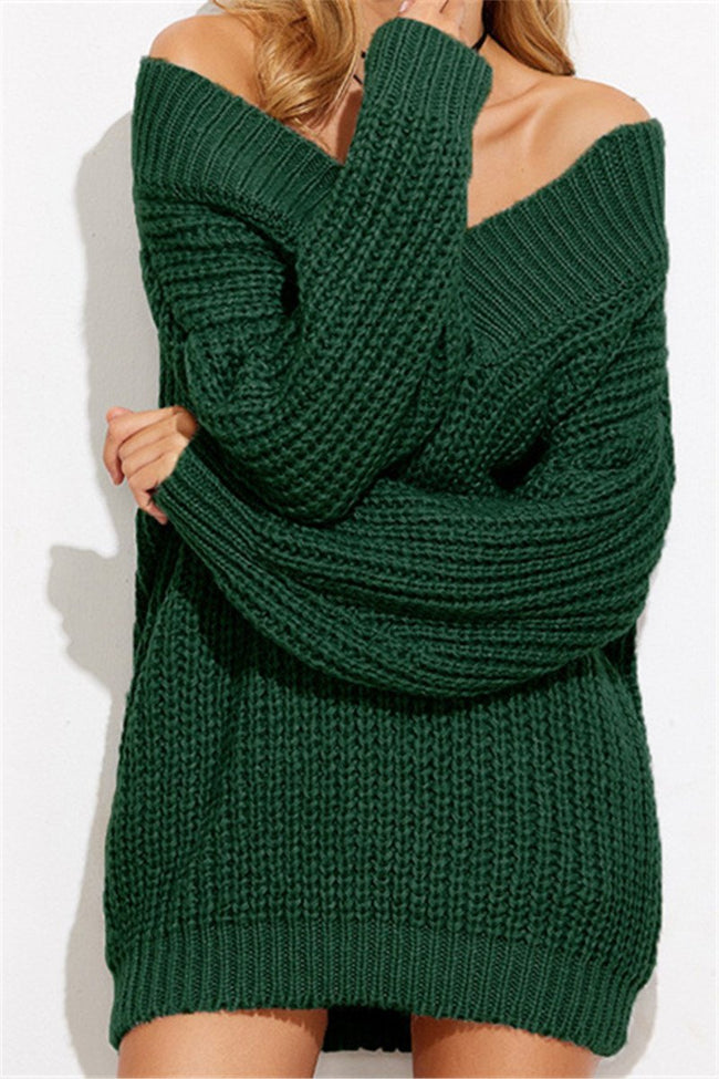 Voyagal V-Neck Sweater With Shoulder Left Chunky Knit