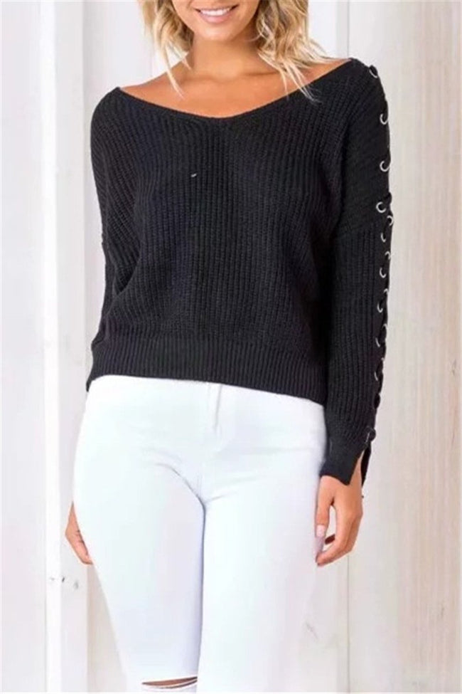 Voyagal She's In Control Long Sleeve V Neck Lace Up Sweater