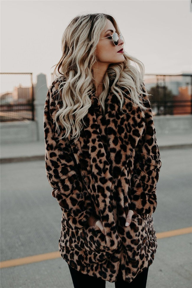 Voyagal Lapel Collar Faux Fur Leopard Print Warm Winter Coats