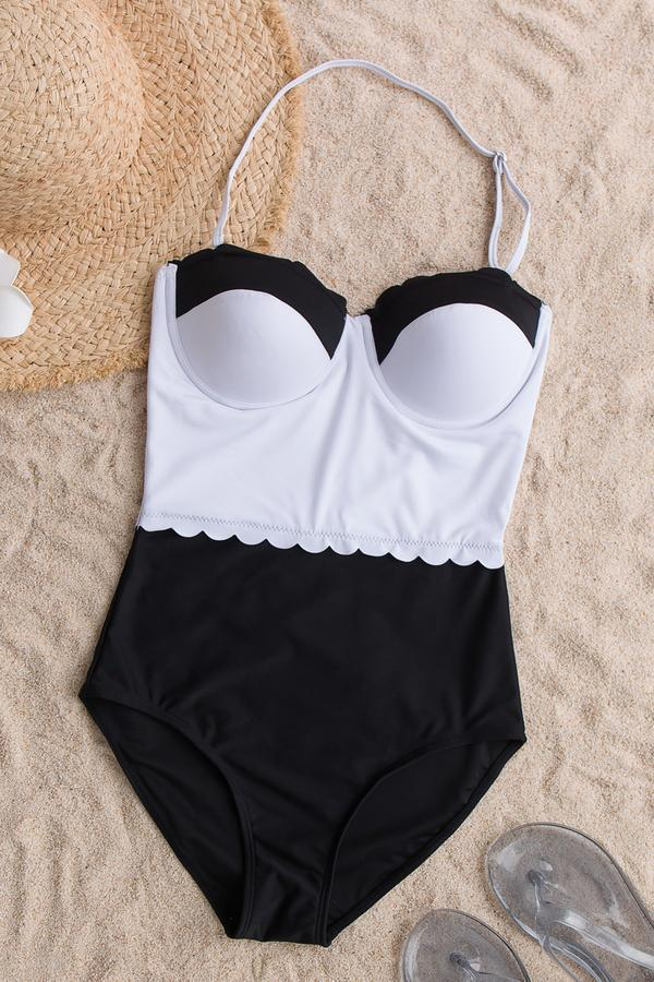 Voyagal Classic Tone Contrast One-piece Swimsuit