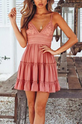 Voyagal Standing Waiting Lace Mini Dress