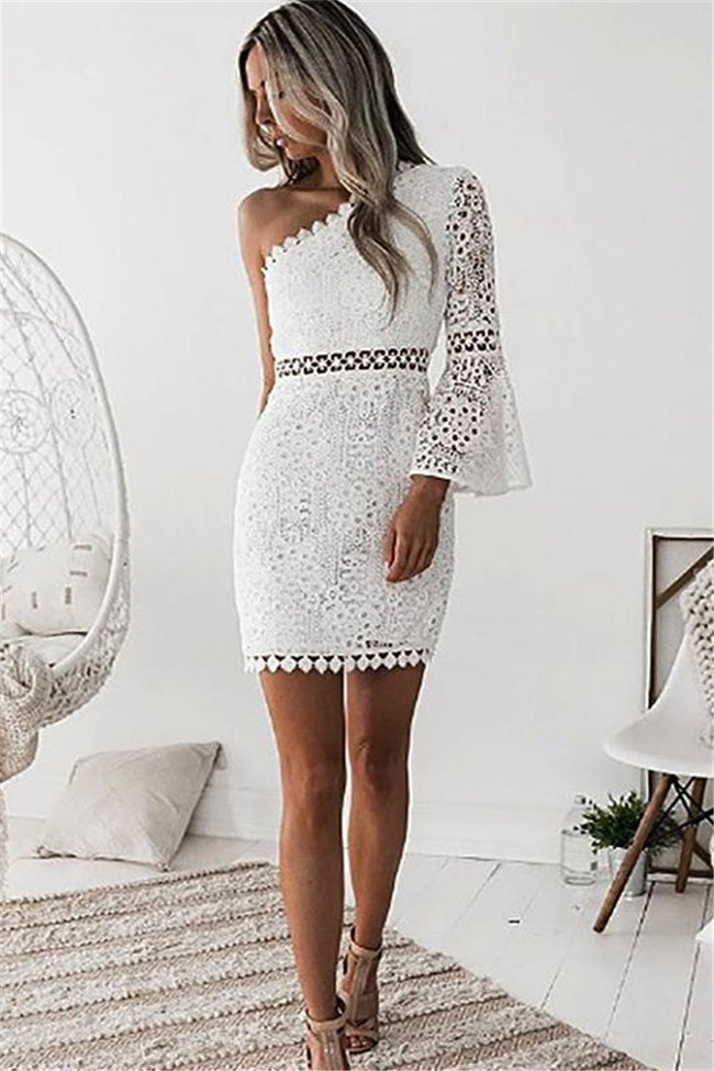 Voyagal Elyse white one sleeve dress