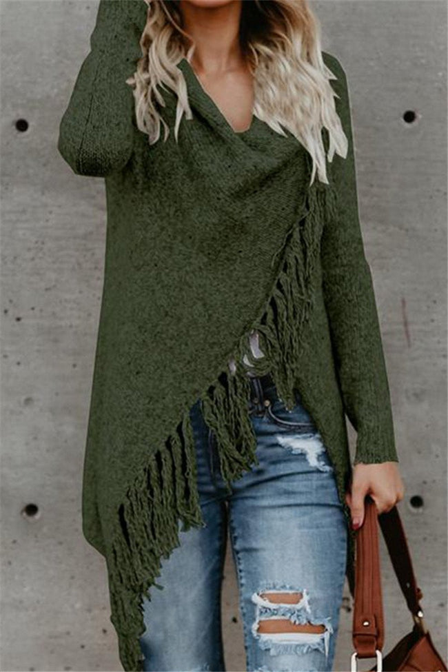 Voyagal Long Sleeve Speckled Fringe Open Front Cardigan