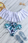 Voyagal Morning Leaf Print Falbala Bikini Set