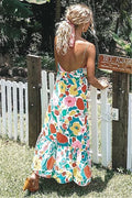 Voyagal Floral Printed V Neck Midi Dress