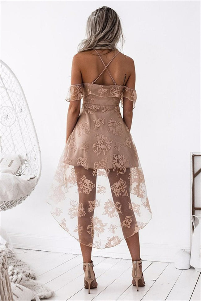Voyagal Flowers Mesh Overlay Dress