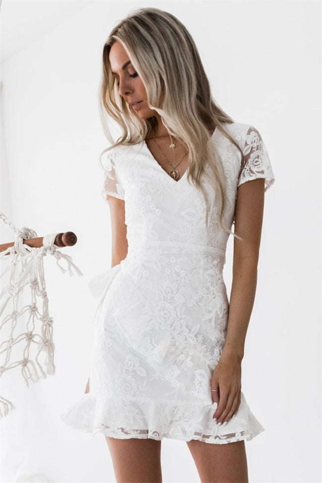 VoYagal White Dress Short Sleeve And Laced Back