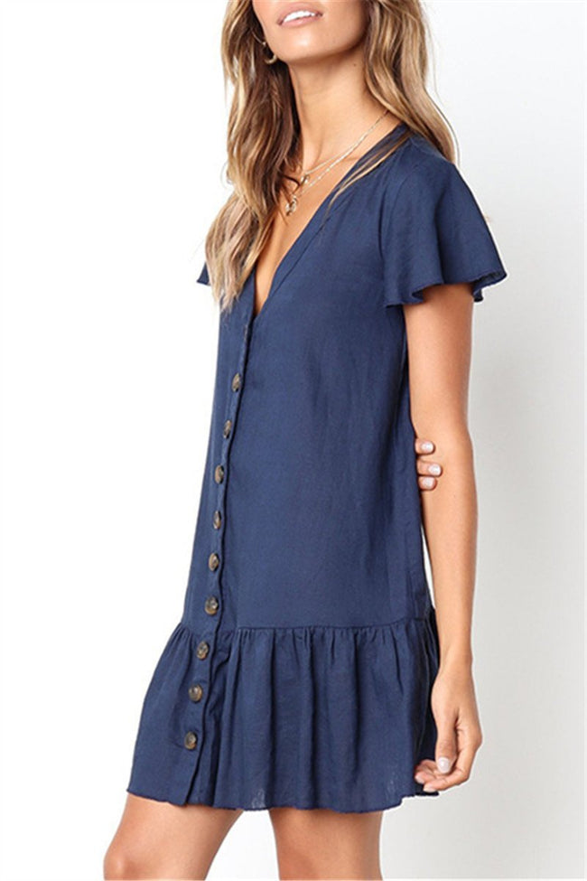Voyagal V Neckline Button Down Relaxed Mini Dress