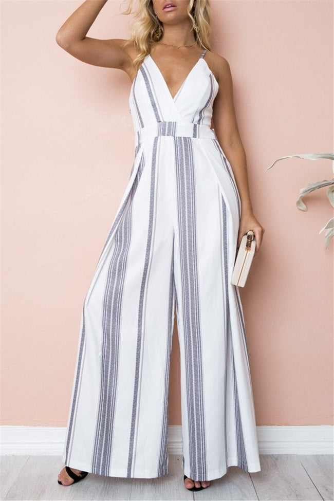 Voyagal Touch Sweet Striped Jumpsuits