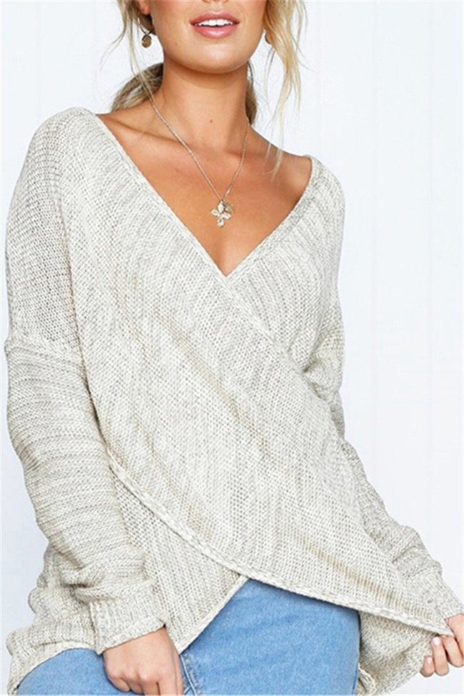 Voyagal At Me V Neck Cross-over Design Sweaters