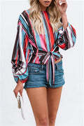 Voyagal Printed Striped Front Hudie Knot Long Sleeve Blouse