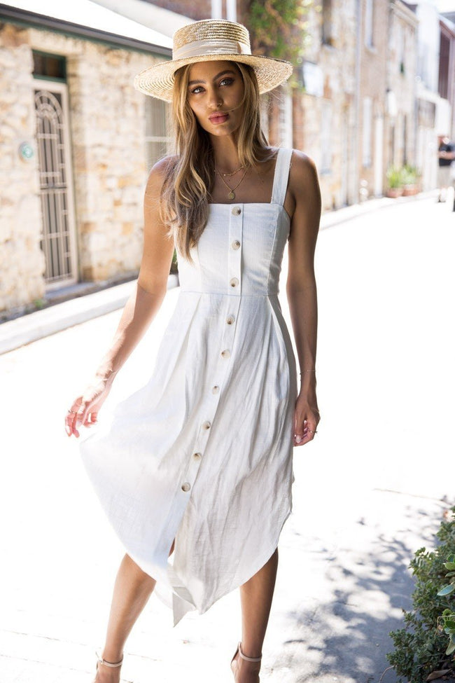Voyagal Button Down White Midi Calf Dress