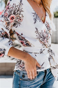 Voyagal Printed Butterfly Knot Lantern Sleeve Blouse