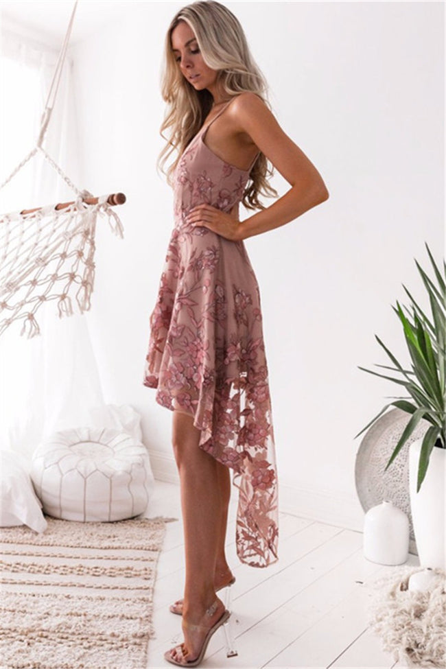 Voyagal Lace Embroidered Sling Irregular Dress