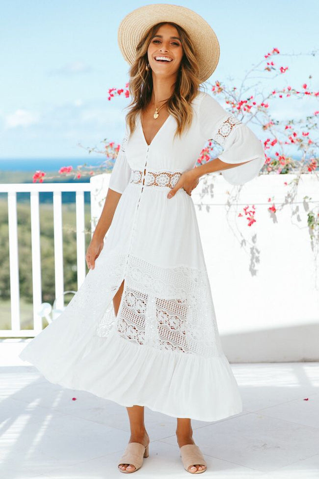 Voyagal V-neck Lace Stitching White Maxi Vacation Dress