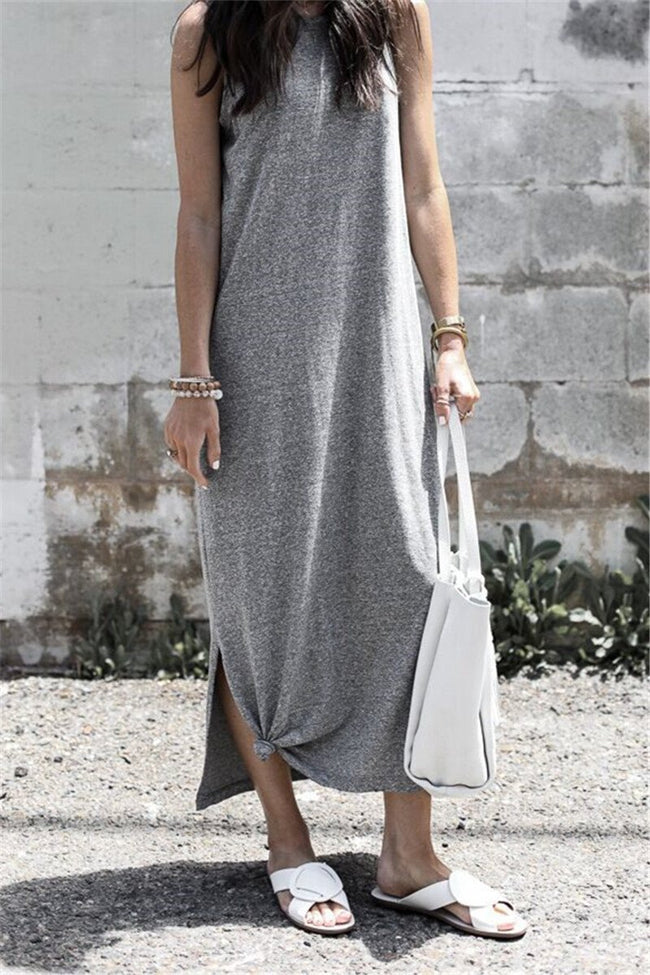 Voyagal Sleeveless Solid Casual Maxi Dress