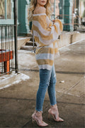 Voyagal Loose Round Neck Stripes Long Batwing Sleeve Sweater