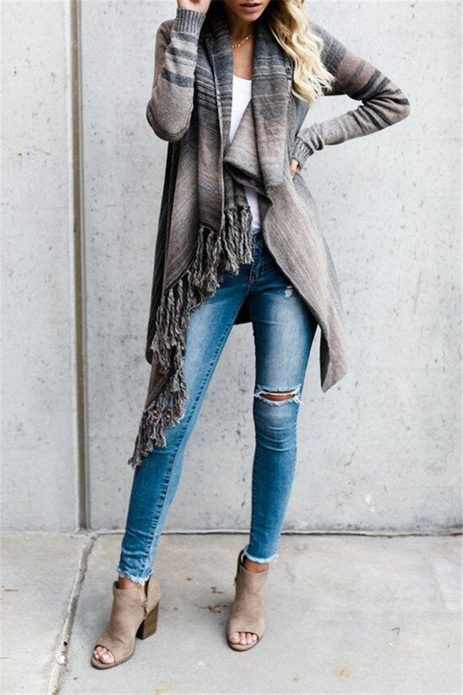 Voyagal Striped Cowl Neck Long Sleeve Tassel Cardigan