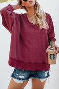 Voyagal Long Sleeve Backless Solid Plus Size Sweatshirt